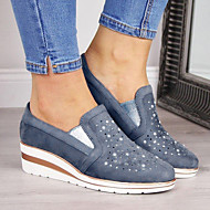 Women's Loafers & Slip-Ons Wedge Heel Round Toe Daily Suede Solid Colored Summer Blue Pink Gray