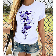 cheap -Women's T-shirt Graphic Prints Round Neck Tops Loose 100% Cotton Basic Top White Purple Yellow