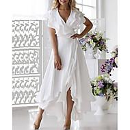 Χαμηλού Κόστους -Γυναικεία Φόρεμα με δέσιμο στα πλάγια Μίντι φόρεμα - Αμάνικο Με Βολάν Πολυεπίπεδο Καλοκαίρι Βαθύ V Μεγάλα Μεγέθη Σέξι Αργίες Διακοπές Παραλία Σιφόν 2020 Λευκό Σκούρο μπλε Τ M L XL XXL XXXL XXXXL