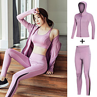 cheap -Women's 2pcs Tracksuit Patchwork Fashion Black Purple Dark Purple Mesh Yoga Running Fitness Jacket Leggings Long Sleeve Sport Activewear Breathable Reflective Logo Quick Dry Tummy Control Butt Lift
