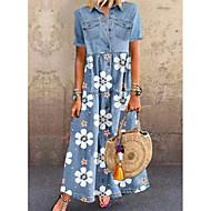 preiswerte -Damen Jeanshemd Kleid Maxikleid - Kurzarm Blumen Tasche Knopf vorne Sommer Hemdkragen Freizeit Alltag 2020 Blau M L XL XXL XXXL