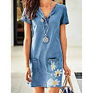 Χαμηλού Κόστους -Γυναικεία Φορέματα τζιν Μίνι φόρεμα - Κοντομάνικο Φλοράλ Τσέπη Καλοκαίρι Λαιμόκοψη V Καθημερινό 2020 Θαλασσί M L XL XXL XXXL