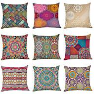 abordables -Funda de almohada de lino de 9 piezas, flores de datura geométricas modernas cuadradas tradicionales clásicas