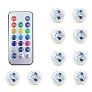 preiswerte -10 Stück wasserdichte batteriebetriebene RGB-Tauch-LED-Nachtlicht Unterwasser-Nachtlampe Teelichter für Vasenschalen Aquarium und Party Hochzeit Dekor (enthalten Fernbedienung enthalten Batterie)