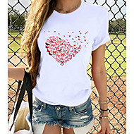 cheap -Women's T-shirt Heart Graphic Prints Printing Round Neck Tops Loose 100% Cotton Basic Top White