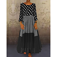 cheap -Women's A-Line Dress Maxi long Dress - Long Sleeve Polka Dot Patchwork Print Spring Fall Plus Size Casual Holiday Vacation Loose 2020 Black Red Yellow M L XL XXL XXXL XXXXL XXXXXL