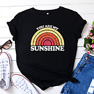 cheap -Women's T-shirt Rainbow Letter Print Round Neck Tops Loose 100% Cotton Basic Basic Top Black Wine Royal Blue