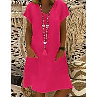 Χαμηλού Κόστους -Γυναικεία Φόρεμα ριχτό Μίνι φόρεμα - Κοντομάνικο Άλλα Καλοκαίρι Λαιμόκοψη V Μεγάλα Μεγέθη Βασικό Διακοπές Φαρδιά 2020 Μαύρο Βυσσινί Κίτρινο Ανθισμένο Ροζ Φούξια Πράσινο Ανοικτό Μπλε Απαλό M L XL XXL
