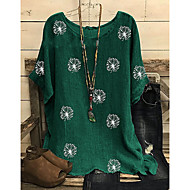 Women's Daily Plus Size Blouse Shirt Holiday Sunflower Boho Print Half Sleeve Loose Tops Boho Black Wine Green