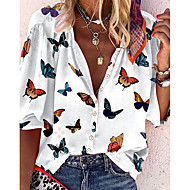 女性用 シャツ 動物 トップの シャツカラー 日常 夏 ホワイト S M L XL 2XL