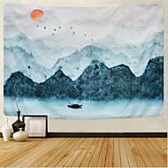 cheap -Wall Tapestry Art Decor Blanket Curtain Picnic Tablecloth Hanging Home Bedroom Living Room Dorm Decoration Chinese Ink Painting Moutain River Sun