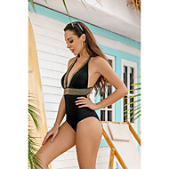 Women's Cheeky One-piece Swimwear Swimsuit - Solid Colored S M L Black