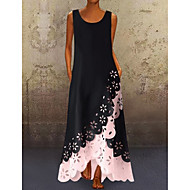 cheap -Women's A-Line Dress Maxi long Dress - Sleeveless Floral Hole Summer U Neck Plus Size Casual 2020 White Purple Blushing Pink Gold Light Blue S M L XL XXL XXXL XXXXL XXXXXL