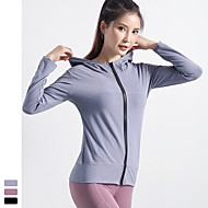 cheap -Women's Hoodie Sweatshirt Yoga Top Zipper Fashion Black Purple Blue Yoga Running Fitness Jacket Top Long Sleeve Sport Activewear Breathable Quick Dry Comfortable Stretchy