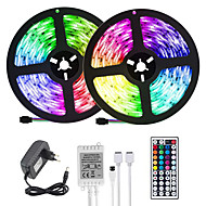 cheap -(2*5M)10M 32.8ft LED Light Strips RGB Tiktok Lights 2835 600leds 8mm Strips Lighting Flexible Color Changing with 44 Key IR Remote Ideal for Home Kitchen Christmas TV Back Lights DC 12V