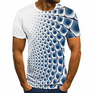 cheap -Men's T-shirt 3D Graphic Tops Basic Round Neck Blue Purple Gray / Short Sleeve