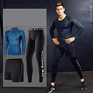 cheap -Men's Tracksuit Activewear Set Workout Outfits Athletic Long Sleeve 3pcs Reflective Breathable Quick Dry Gym Workout Running Active Training Jogging Sportswear Skinny Outfit Set Clothing Suit