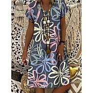 Χαμηλού Κόστους -Γυναικεία Φόρεμα ριχτό Φόρεμα μέχρι το γόνατο - Κοντομάνικο Φλοράλ Στάμπα Καλοκαίρι Λαιμόκοψη V Καθημερινό Καθημερινά 2020 Γκρίζο M L XL XXL XXXL