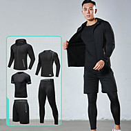 cheap -Men's Elastic Waistband Pocket Tracksuit Activewear Set Workout Outfits Athletic Long Sleeve 5pcs Reflective Breathable Quick Dry Gym Workout Running Active Training Jogging Sportswear Skinny Outfit