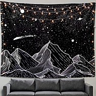 cheap -Wall Tapestry Art Decor Blanket Curtain Picnic Tablecloth Hanging Home Bedroom Living Room Dorm Decoration Black and White Mountain Galaxy Meteor Star Moon