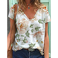 cheap -Women's T-shirt Floral Print V Neck Tops Loose Cotton Basic Top White