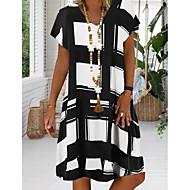 Χαμηλού Κόστους -Γυναικεία Μεγάλα Μεγέθη Φόρεμα για τον ήλιο Φόρεμα μέχρι το γόνατο - Κοντομάνικο Γεωμετρικό Στάμπα Καλοκαίρι Λαιμόκοψη V Καθημερινό Διακοπές 2020 Μαύρο Ρουμπίνι Βαθυγάλαζο Τ M L XL XXL XXXL XXXXL