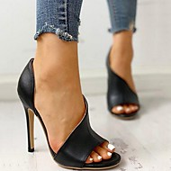 Women's Sandals Stiletto Heel Open Toe Daily PU Summer Black Pink Rainbow