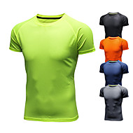 cheap -Men's Running T-Shirt Short Sleeve Ice Silk Breathable Quick Dry Moisture Wicking Fitness Gym Workout Running Walking Jogging Sportswear Tee T-shirt Black Orange Green Navy Blue Gray Activewear