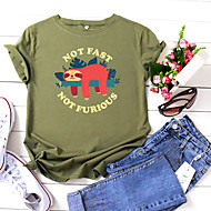 cheap -Women's T-shirt Animal Letter Print Round Neck Tops 100% Cotton Basic Basic Top White Black Yellow