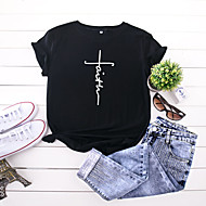 cheap -Women's T-shirt Letter Print Round Neck Tops 100% Cotton Basic Basic Top Black Yellow Blushing Pink