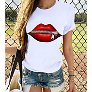 cheap -Women's T-shirt Graphic Prints Round Neck Tops Loose 100% Cotton Basic Top Panda Butterfly Cat