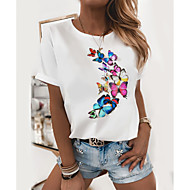 cheap -Women's T-shirt Butterfly Graphic Prints Round Neck Tops Slim 100% Cotton Basic Top Butterfly Cat White