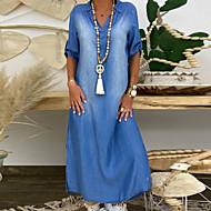 Χαμηλού Κόστους -Γυναικεία Φορέματα τζιν Μακρύ φόρεμα - Μισό μανίκι Καλοκαίρι Λαιμόκοψη V Μεγάλα Μεγέθη Καθημερινό 100% Βαμβάκι Φαρδιά 2020 Θαλασσί M L XL XXL XXXL