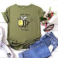 cheap -Women's T-shirt Animal Letter Print Round Neck Tops 100% Cotton Basic Basic Top White Yellow Blushing Pink