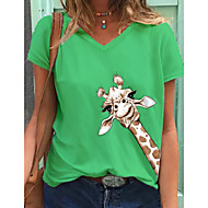cheap -Women's T-shirt Animal V Neck Tops Cotton Basic Top Green Gray White 2