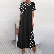 お買い得  -女性用 シフトドレス マキシドレス - 半袖 波点 夏 カジュアル 日常 2020 ブラック M L XL XXL XXXL