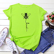 cheap -Women's T-shirt Letter Bee Print Round Neck Tops 100% Cotton Basic Basic Top White Yellow Blushing Pink