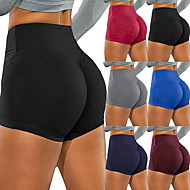 cheap -Women's Yoga Shorts Ruched Butt Lifting Shorts Tummy Control Butt Lift Breathable Black Burgundy Blue Yoga Fitness Gym Workout Sports Activewear Stretchy