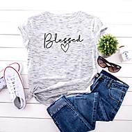 cheap -Women's T-shirt Letter Print Round Neck Tops 100% Cotton Basic Basic Top White Yellow Blushing Pink