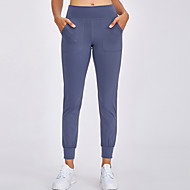 cheap -Women's High Waist Yoga Pants Side Pockets Cropped Pants Tummy Control 4 Way Stretch Breathable Black Purple Dusty Rose Nylon Spandex Non See-through Fitness Gym Workout Running Sports Activewear