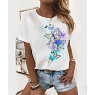 cheap -Women's T-shirt Butterfly Graphic Prints Printing Round Neck Tops Slim 100% Cotton Basic Top White