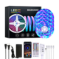 billiga -mashang 20m led strip lampor rgb led light strip music sync 1200 leds led strip 2835 smd färgbyte led strip light bluetooth controller och 40 key remote led lampor för sovrum hemfest