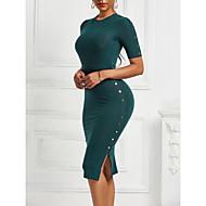 Women's Sheath Dress Knee Length Dress - Short Sleeve Solid Color Summer Fall Work Vintage 2020 Black Green Navy Blue S M L XL