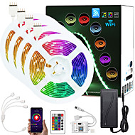 voordelige -verbeterde 65.6ft (4x5m) app intelligente controle led strip verlichting ir 24 key wifi controller 5050 rgb led led soft light strip met adapter kit dc12v
