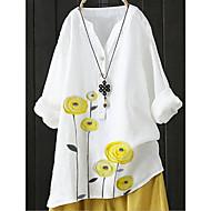Women's Blouse Shirt Floral Long Sleeve V Neck Tops Basic Top White