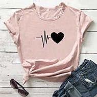 cheap -Women's T-shirt Heart Graphic Prints Letter Print Round Neck Tops Slim 100% Cotton Basic Basic Top White Black Purple