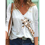 cheap -Women's T-shirt Animal Long Sleeve Print V Neck Tops Loose Cotton Basic Basic Top White Blue Yellow