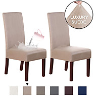 cheap -Suede Dining Room Chair Covers Dining Chair Slipcover Parsons Chair Slipcover Water Proof Chair Covers for Dining Room Set of 2, Soft Stretch Removable High Back Chair Protector