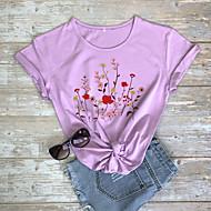 cheap -Women's T-shirt Graphic Prints Letter Print Round Neck Tops 100% Cotton Basic Basic Top White Black Purple