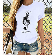 cheap -Women's T-shirt Graphic Prints Round Neck Tops Loose 100% Cotton Basic Basic Top White Red Light gray